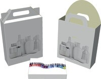 Set packagings for nail polish, crucibles, pump dispensers, etc.